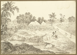 Encampment at Bishnupur (Bengal); elephants, bullock-carts, horses and an Englishman on horseback in the foreground. 29 January 1823